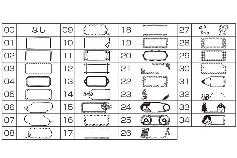 フレームは34種類から選べる(説明書より抜粋)。横方向には自動的に延びるが、縦方向は固定。なお、coharuは縦組み印刷には非対応だ