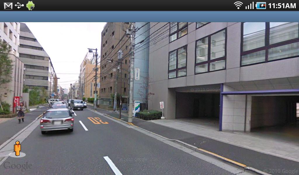 もちろんストリートビューも使える。現在位置確認や少し先の様子確認などに使える