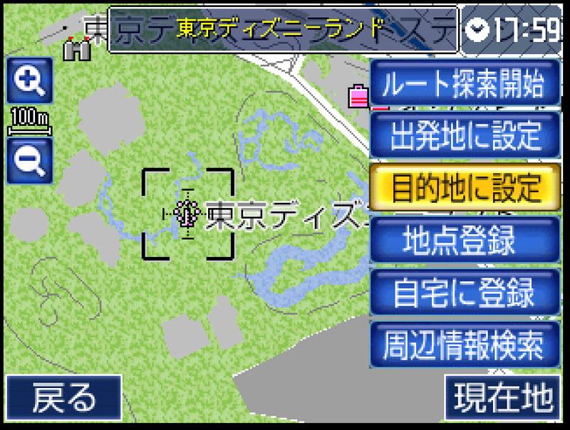 目的地をタップすればその場の地図が表示される