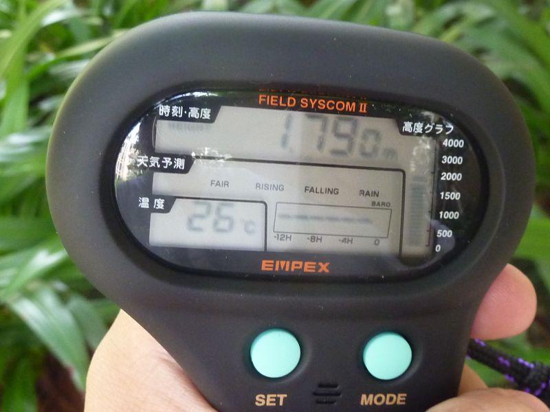 1790m、温度は26度と計測