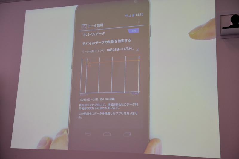 「設定」にある「データ使用」画面では、確認ほか、バックグラウンドのデータ通信も制御できる