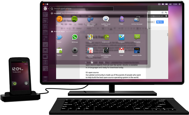 「Ubuntu for Android」利用イメージ