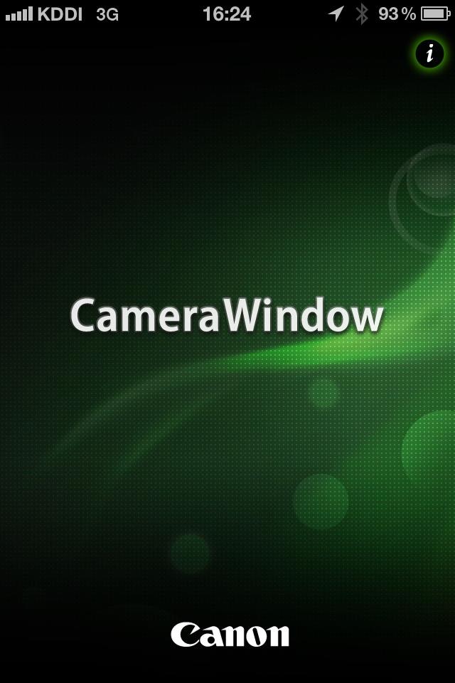 次いで、iPhone上でCanon CameraWindowアプリ起動する
