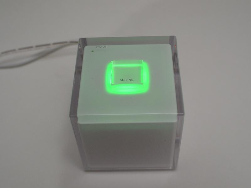 設定が完了すると一定時間、グリーン色に点灯し、しばらくたつと消灯する