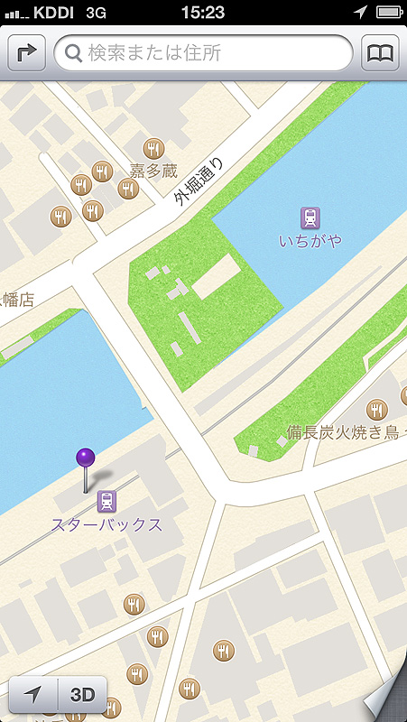 市ヶ谷駅周辺の地図。「スターバックス駅」と水上に浮かぶ「いちがや駅」