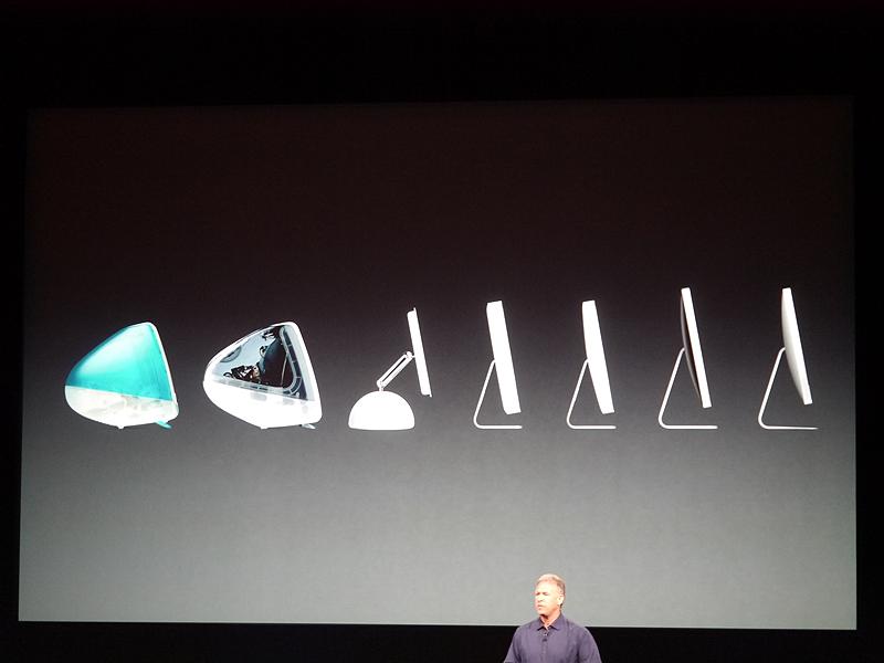 さらに話題は新世代のiMacに及んだ。これまでの進化を説明