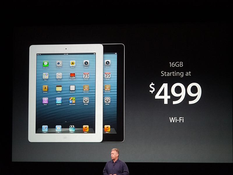 16GBのWi-Fiモデルの価格は499ドル。日本では4万2800円