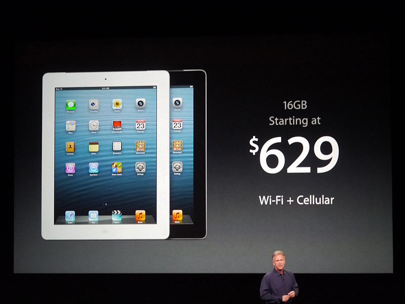 16GBのWi-Fi+セルラーの製品が629ドル。日本での価格は5万3800円