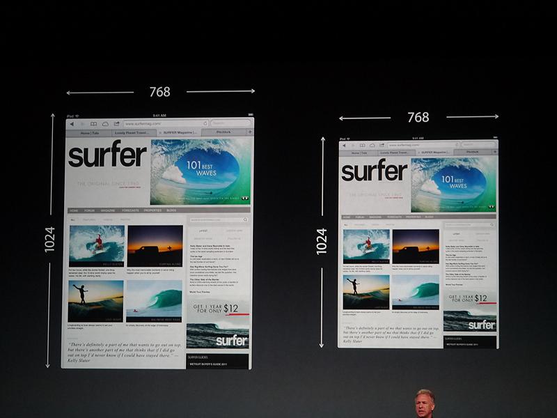 iPad2と同じ解像度を達成している。機能は削らずにサイズだけを小さくしたというのがiPad miniの特徴