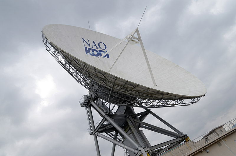 直径32mの電波望遠鏡。現在は山口大学が管理している