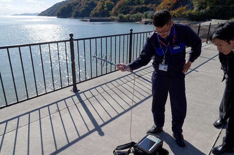 八木アンテナと専用の測定器で電波状況をチェック