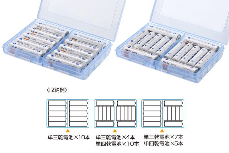 こんなパターンで電池を収納できる。電池を収納した状態で携行すると「カシャカシャ」と音がするが、それがOKなら多数の電池を持ち運べますな。
