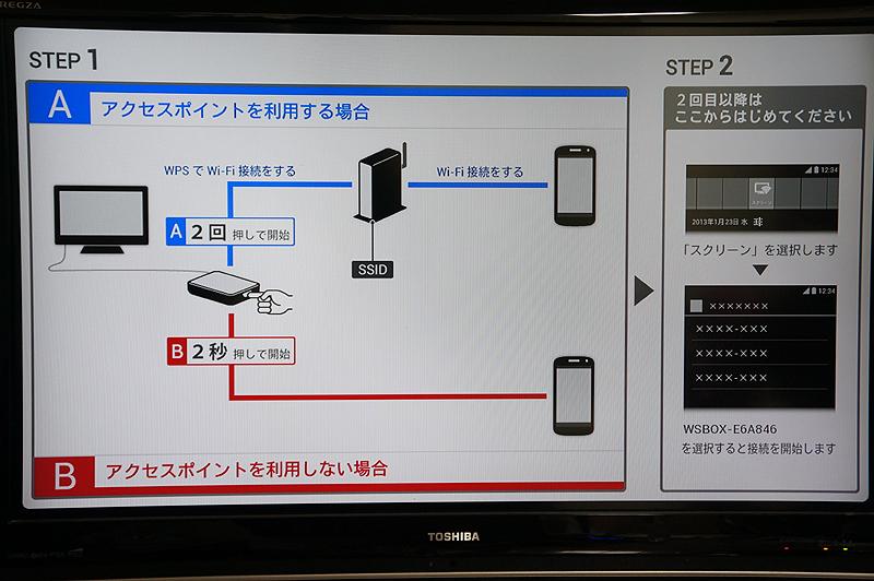 テレビ画面に設定方法が表示される