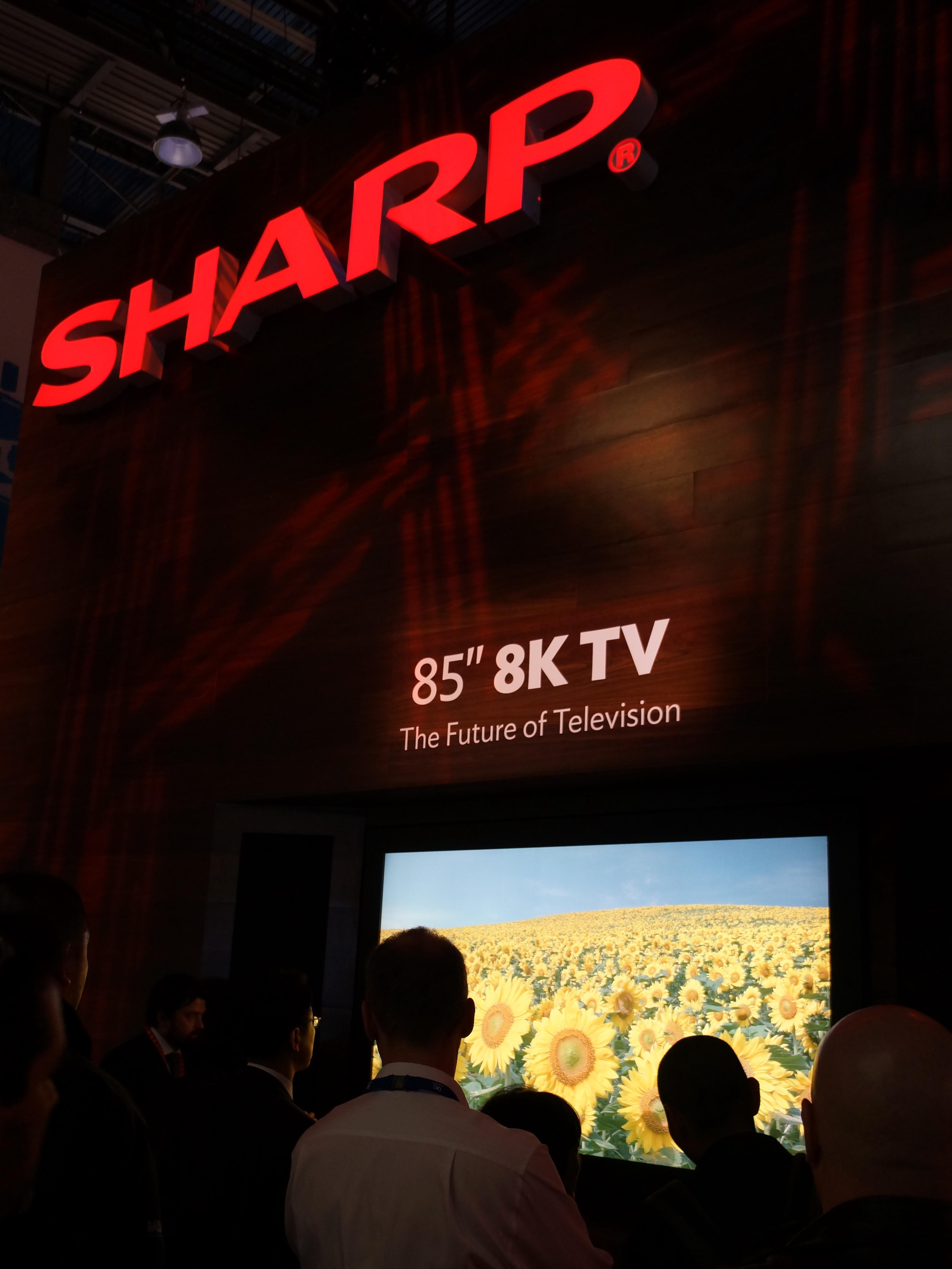 シャープが参考出品で展示した85インチの8Kテレビ。来場者の関心も高く、常に人だかりができていた