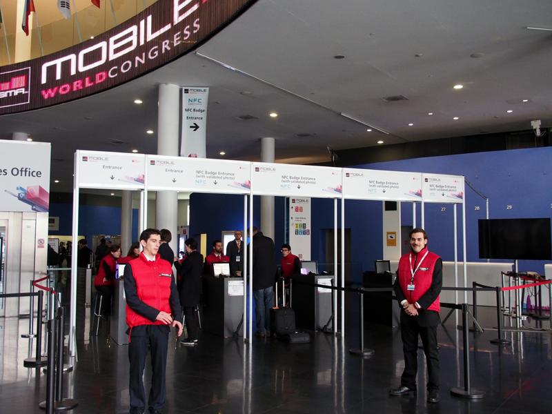 会場入り口のゲートはNFCに対応していた