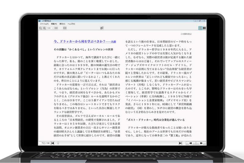 パソコン上での表示例。『この国を出よ』著/大前研一、柳井正(小学館)