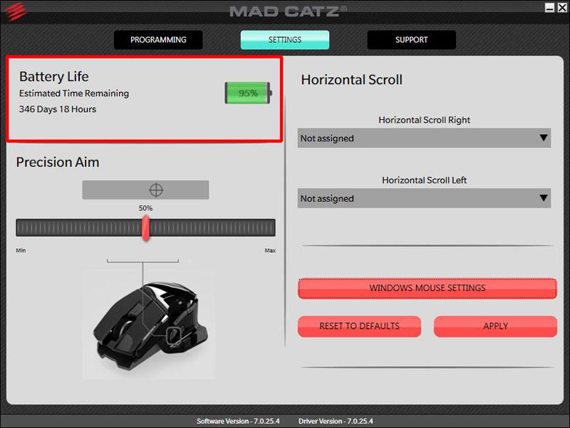 「Mad Catz A.P.P.」で電池残量を確認できる(赤枠内)。十数分程度以内で数度チェックしてみたが、状況によって数%のブレが見られた