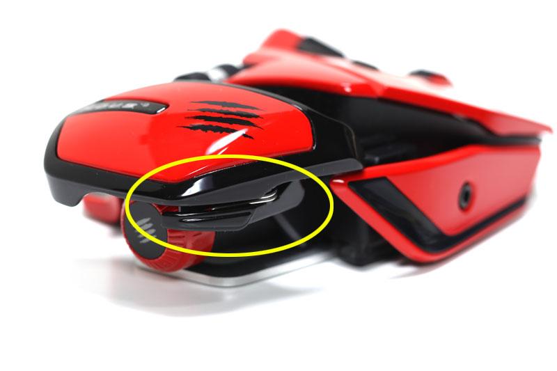 このようにマウスの長さを調節できる。マウス後方右側のレバーにより、カチカチと4段階に長さを変えられるのだ