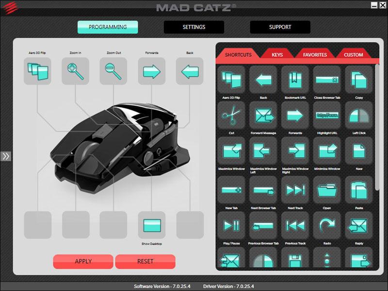 専用ソフト「Mad Catz A.P.P.」を使って各ボタンをカスタマイズ可能。OSレベルのショートカットや特定のキー、キーボードマクロなどをボタンに割り当てられる。右のアイコンを左のボタン位置に「ドラッグ&ドロップ」するだけでカスタマイズ可能。アイコンのサイズ調節もできたりする