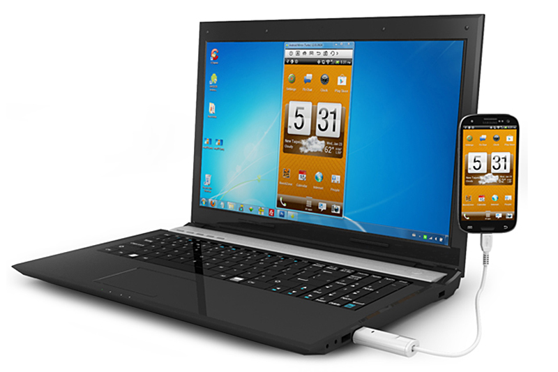 エバーグリーンの「Android OS用 スマートフォン-PC ミラーリングケーブル DN-84254」。モノとしてはUSB接続のケーブルで、PCにつながったマウスやキーボードでAndroid端末を扱えるようになる