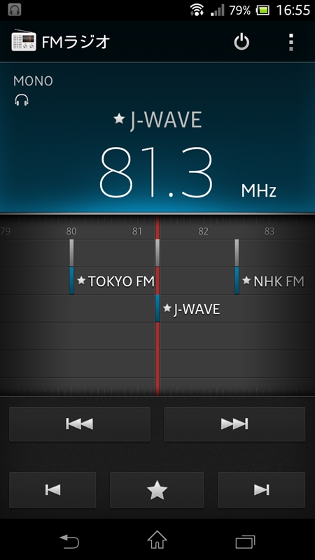 FMラジオは、付属のイヤフォンをアンテナとして用いる仕組み。お気に入りの局を設定すると、このように画面に表示される