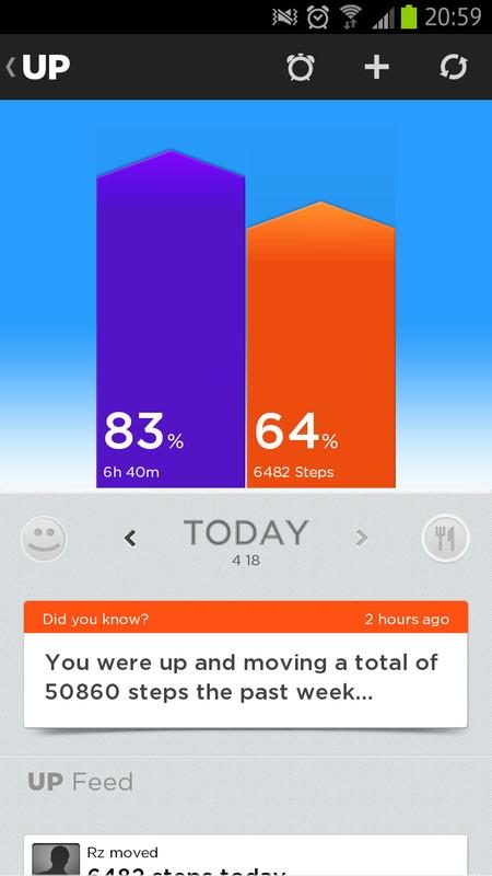 左が睡眠、右が歩数。初期設定の値に対しての進捗率が表示されている