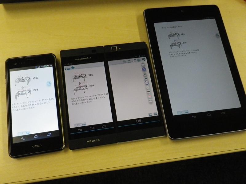 (左から)VEGA PTL21、MEDIAS W N-05E、Nexus 7。デジタルキャビネット経由でドキュメントを共有できる