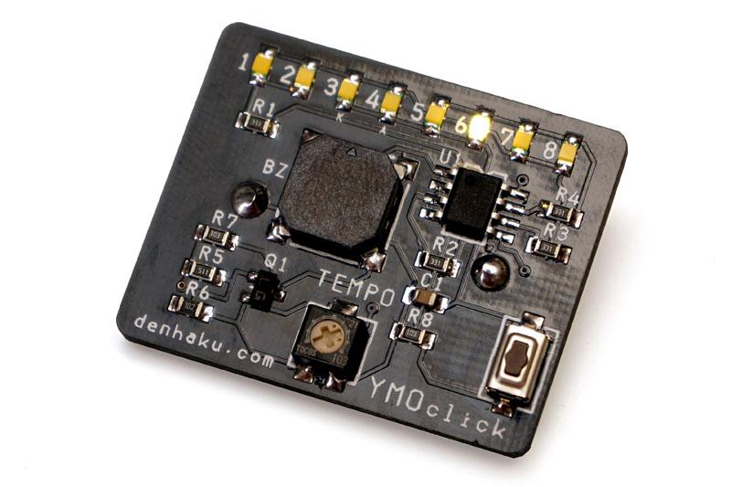 原田さん謹製の「YMOクリックバッヂ」。YMO世代でシンセ系機材が好きだったりするとグググッとキちゃうバッヂなのだ。LEDもキレイに光る。
