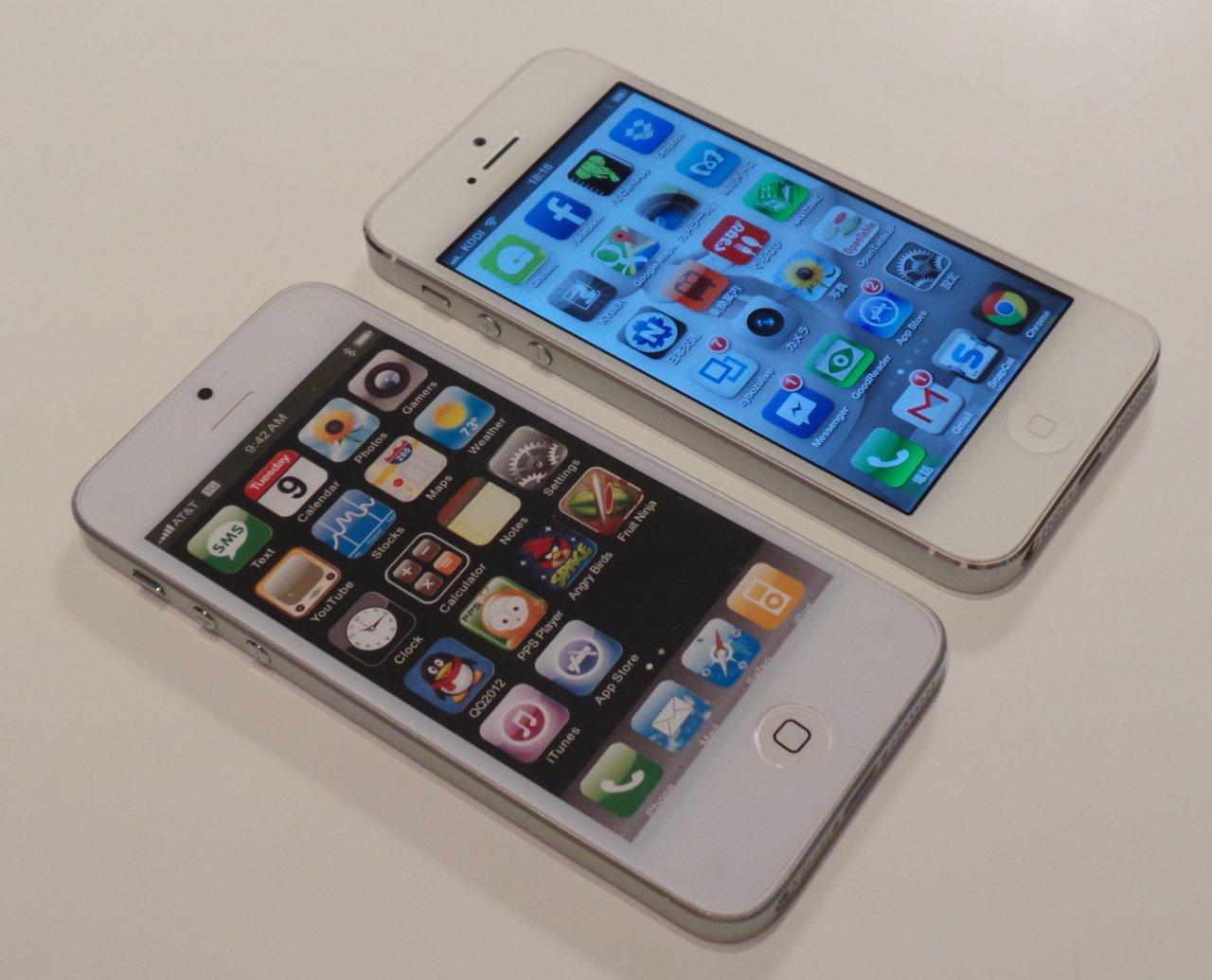 実測してみたが、中国製のiPhone5のダミーモデルは、Apple社のiPhone 5より誤差範囲で小さい