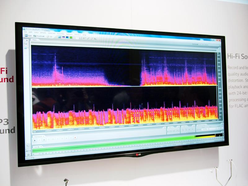 G2と一般的な機種で比較した、音楽再生時の周波数。G2の方が、幅広い周波数の音をきちんと再現できている