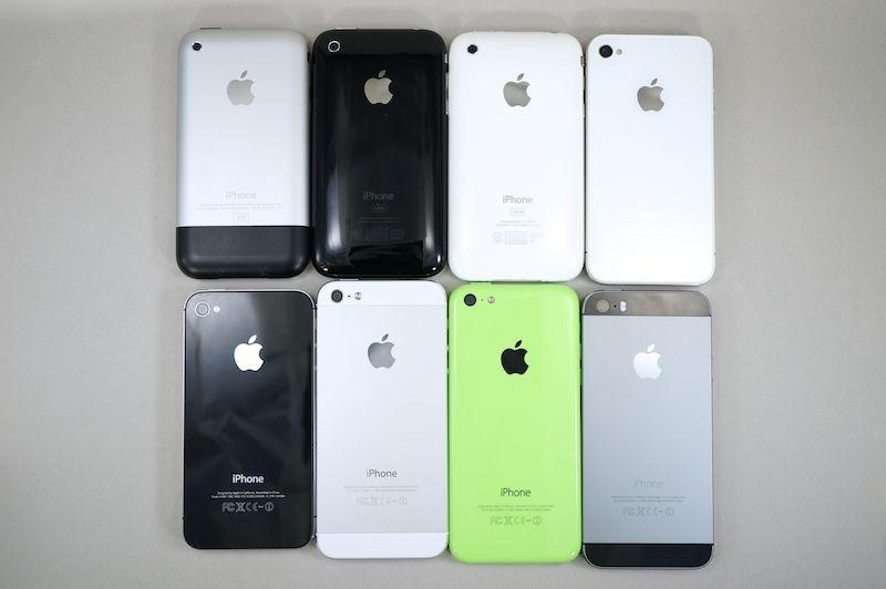 歴代iPhone。今回は7世代目で全8機種