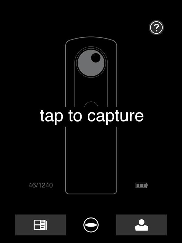 「Photosynth」アプリを使っている様子。本来の機能のほか、THETAとWi-Fi接続しての画像転送、閲覧、リモート撮影に対応している