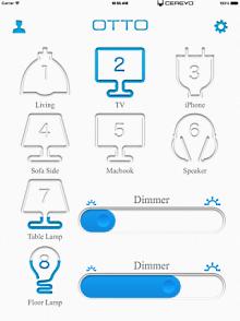 専用アプリの操作画面。アイコンをタップするだけでオン/オフができる。画面下のバーをスライドさせて調光も可能