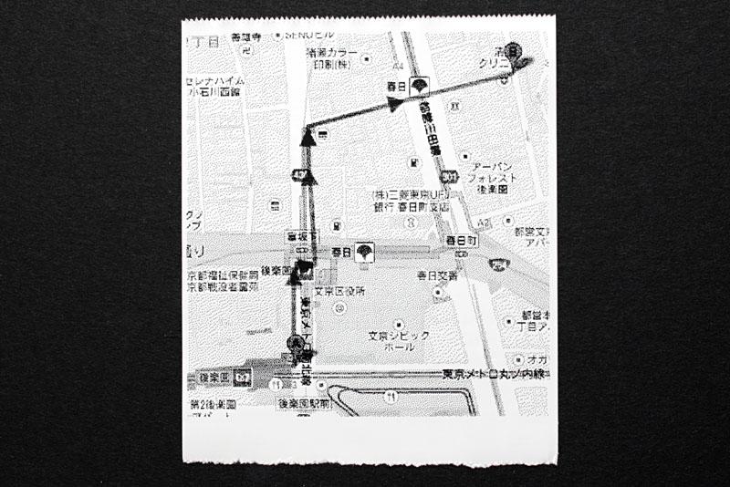 こちらはGoogleマップ上で探索した地図上のルート。ハイライトの部分をプリントしたが、まあまあ使えなくもないという雰囲気。設定によりさらに見やすい印刷結果になるかもしれないが、その手間を考えると「素直にスマートフォン使えば?」となるかも