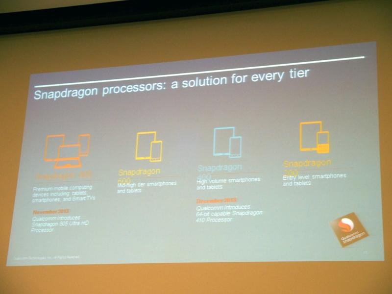 Snapdragonシリーズのラインナップ。800、600、400、100の4シリーズがあり、上から上位モデルとなる