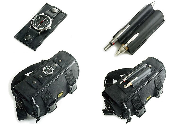 「ファスナー付きカスタムフラップ」には、時計ホルダーやペンホルダーといったオプション品を装着できる。装着は面ファスナーで固定する。