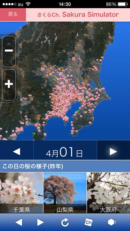地域ごとに地図を拡大することも可能。関東では4月1日前後から満開となりそう
