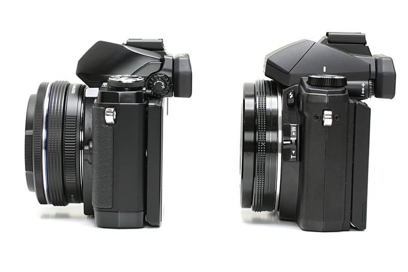 厳密なサイズや質量は違うが、ボリューム感はE-M10もSTYLUS 1もほとんど同じ。どちらも自動開閉式レンズキャップを装着している