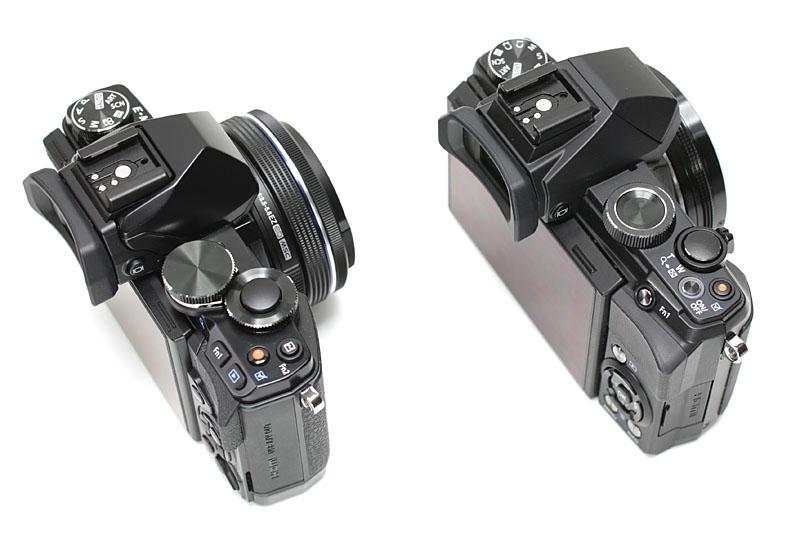 実際に携帯した嵩張り感もだいたい同じだ。ソックリなカメラだが、機能性も拡張性もかなり違う