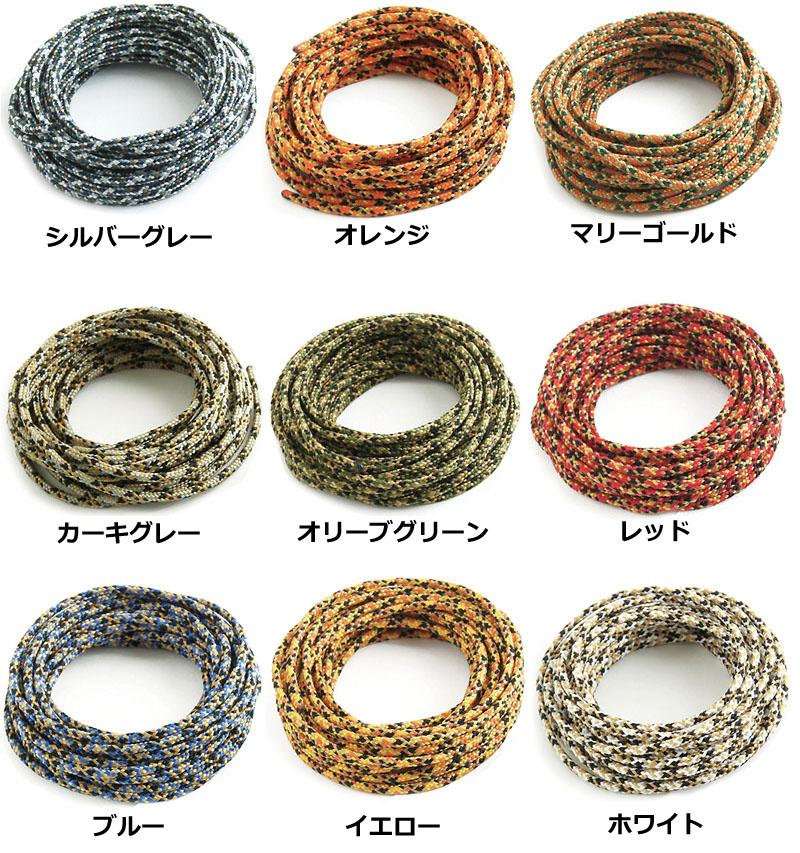 バッグメーカーであるバンナイズがオリジナル柄の化繊紐として作っている「バンナイズ紐」。迷彩のような柄で、全9パターンある。本体価格は1mで200円