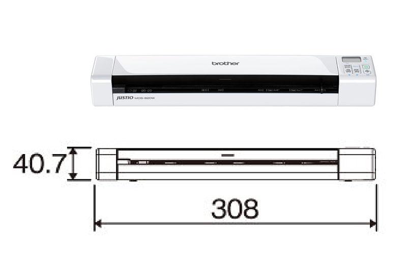 ブラザーの「JUSTIO MDS-820W」。内蔵バッテリーで動作する片面読み取り/手差しのドキュメントスキャナーで、カラー/グレースケール/モノクロのスキャンに対応する。解像度は最大600×600dpi。サイズは約幅30.8×奥行き5.25×高さ4.07cmで、重さは約480g。スキャンデータ保存先は本体に挿したSDメモリーカード。スマートフォンなどからWi-Fi接続してスキャンデータを閲覧可能。実勢価格は2万円前後