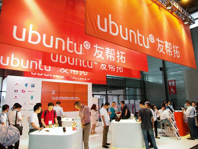 Ubuntu搭載スマートフォンも展示されていた