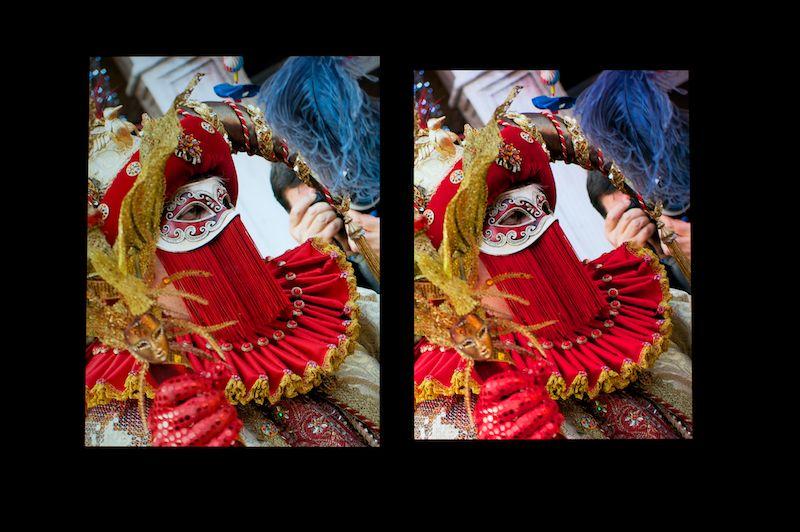 iPad mini Retinaディスプレイモデル(左)とフォトモードのGALAXY Tab S(右)で同じ写真を表示したところ