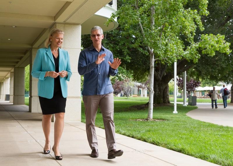 IBMのバージニア・M・ロメッティ会長兼CEOとAppleのティム・クックCEO