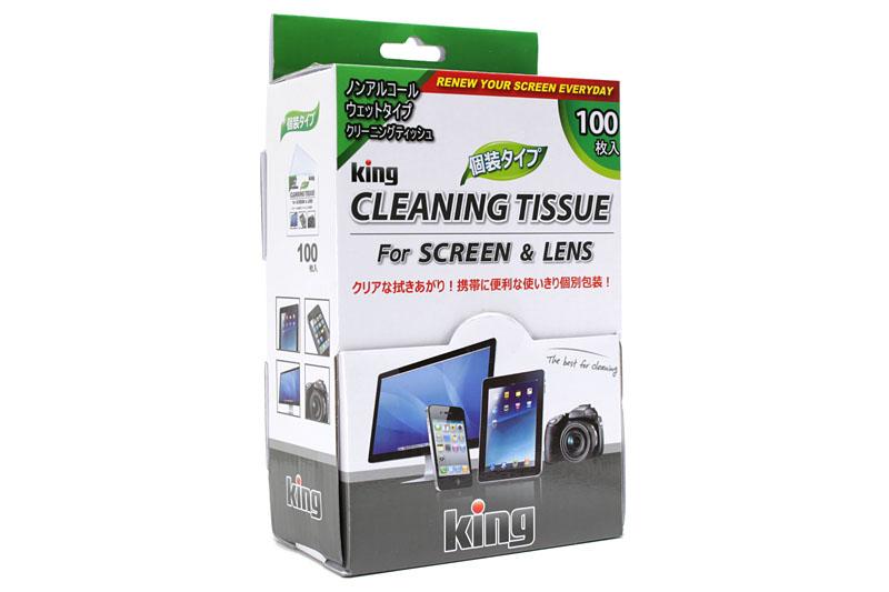 kingの「レンズクリーニングティッシュ」。写真は100枚入りのパッケージで、それぞれのティシューは個別包装になっています。実勢価格は900円前後です。