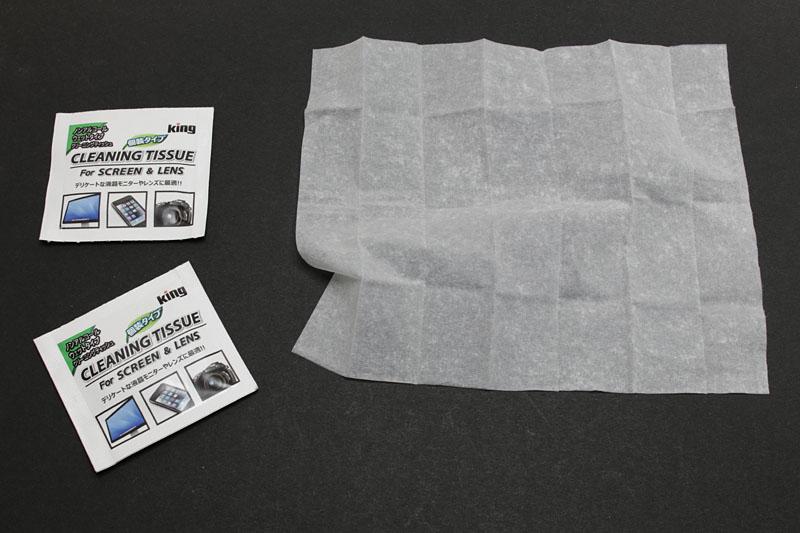 こんな感じで1パッケージずつ個別包装。ティシューサイズは13×15cm。ノンアルコールで、拭いた後は帯電防止効果でホコリが付きにくくなるとのことです。