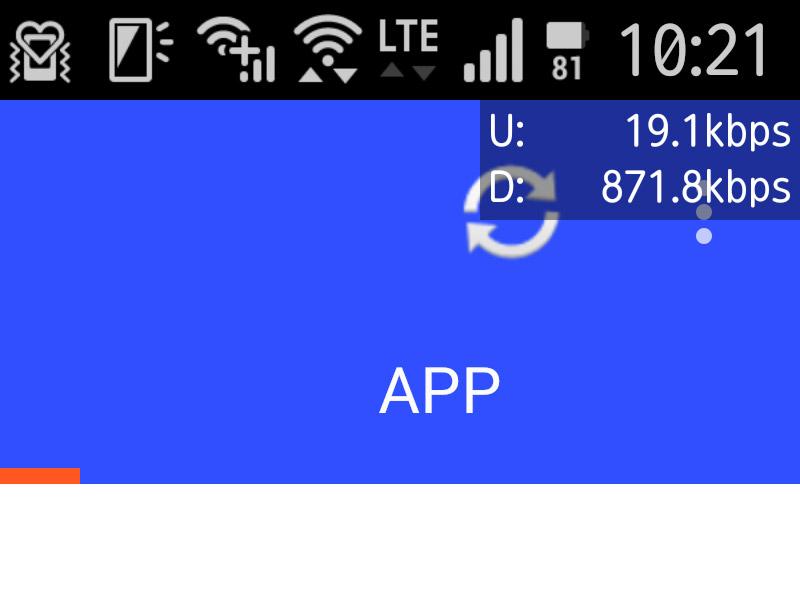 画面右上にオーバーレイ表示したリアルタイムの通信状況。表示位置の変更も可能