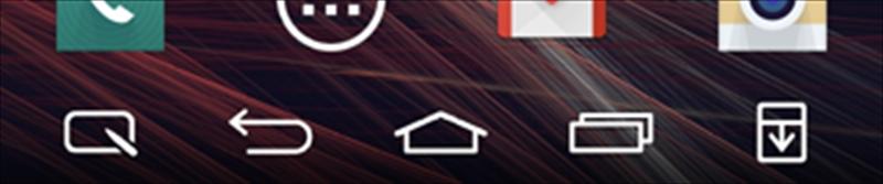 「ホームタッチボタン」の設定例。5つまで並べられる。この例だと左端は「Qメモ+」で、右端が「通知」