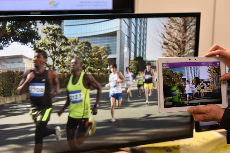 特定の選手にフォーカスをあてて情報を収集することも可能  ※デモではマラソンの映像で代用している