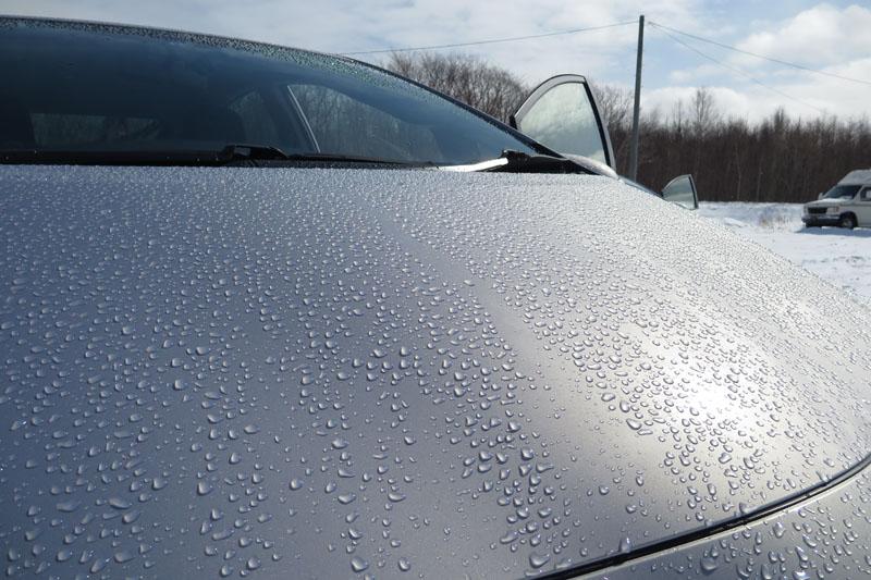 ボンネットの上の雨粒。細部までよく描写されています。